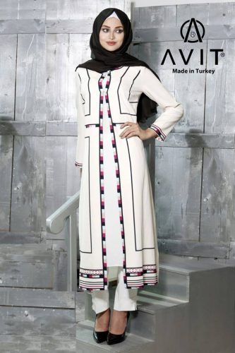 creamy dress tunic hijab