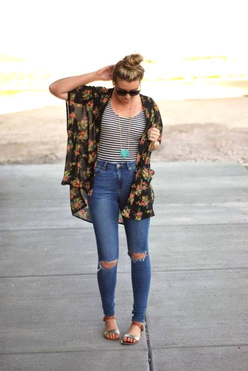 floral kimono with jeans