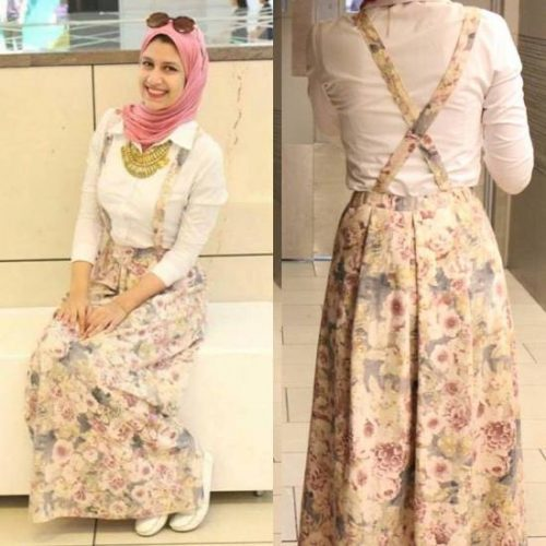 floral skirt with back straps