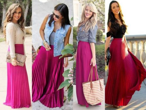 how to wear pleated maxi skirts