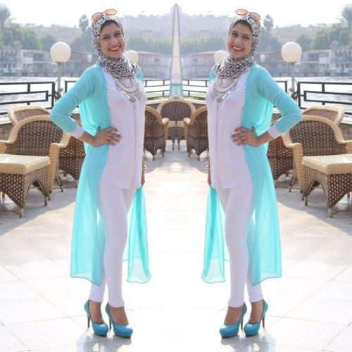 long blue cardigan hijab outfit