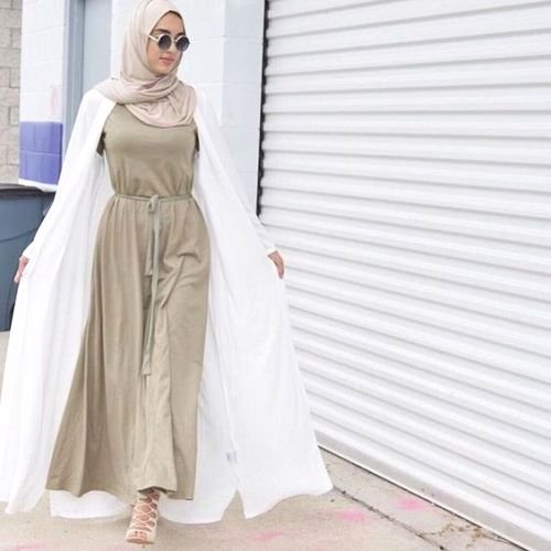 long dress with cardigan hijab
