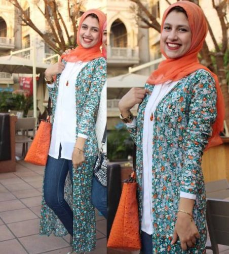 long printed cardigan hijab look