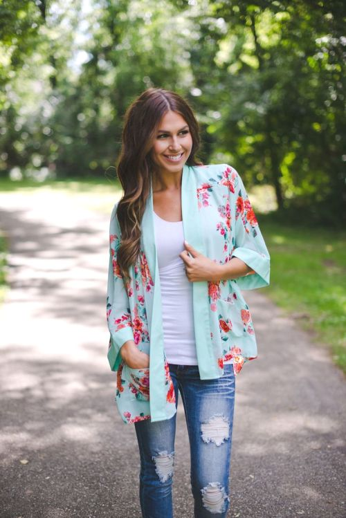 mint and coral kimono outfit