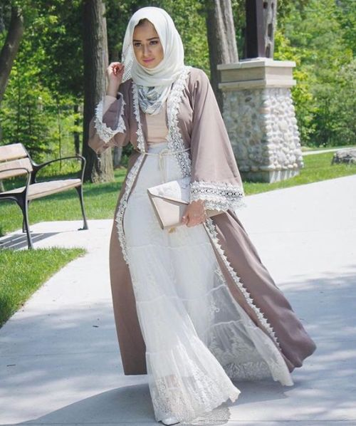 neutral abaya with lace dress