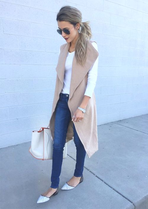 nude vest outfit