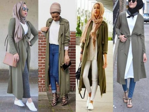 olive trench coat hijab looks