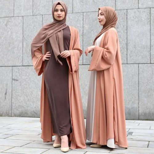 peach and brown abaya style