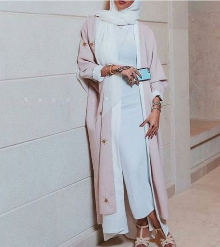 pink with white abaya