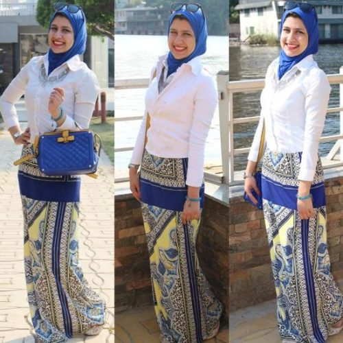 printed maxi skirt hijab look