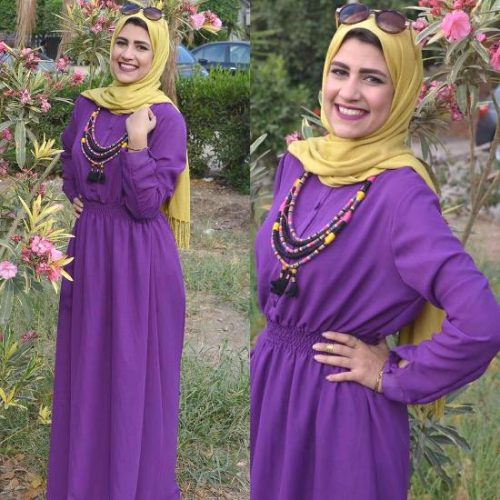 purple maxi dress hijab look