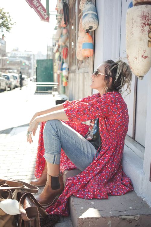 red floral long kimono cardigan