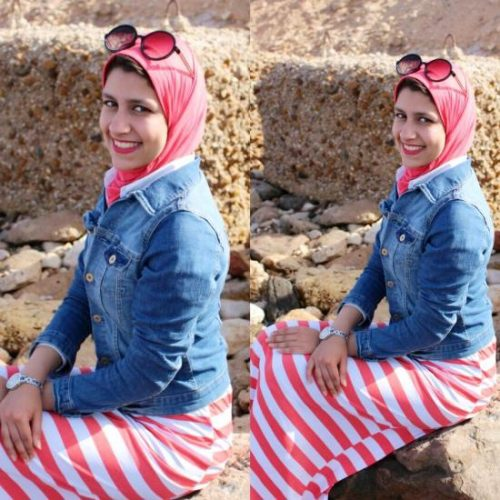 striped maxi dress hijab spring