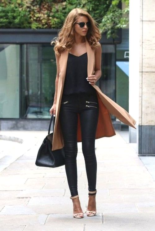tan long vest with black outfit