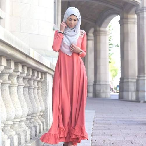 tomato maxi dress hijab look