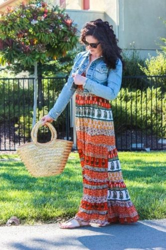 tribal maxi dress with jean jacket,