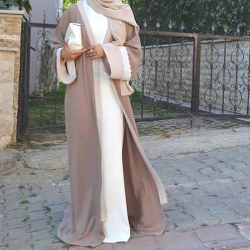 white and beige abaya fashion