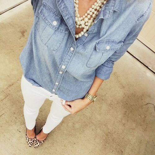 Chambray + pearls + white denim + leopard pumps
