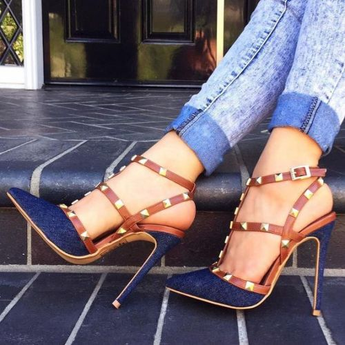 Denim Rivets valentino Stiletto Heels