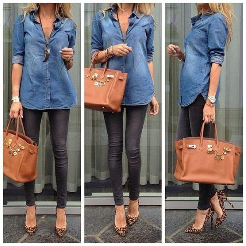 Denim shirt with black skinnies ,