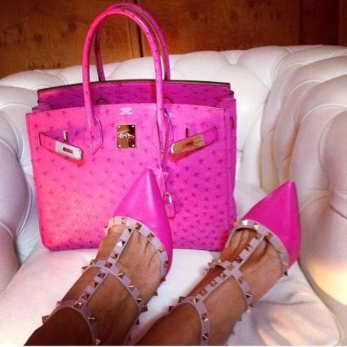 Hot pink rockstuds Valentino shoes