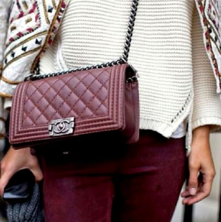 Maroon chanel bag