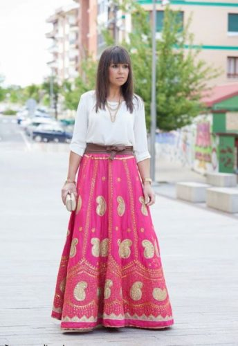 Tribal coral maxi skirt