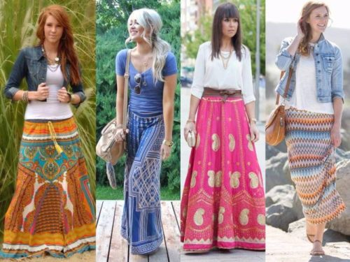 aztec and tribal maxi skirt outfits