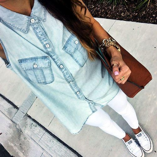 beight blue denim shirt with white skinny,