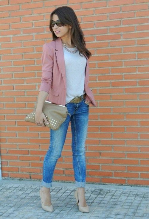 blush blazer with jeans