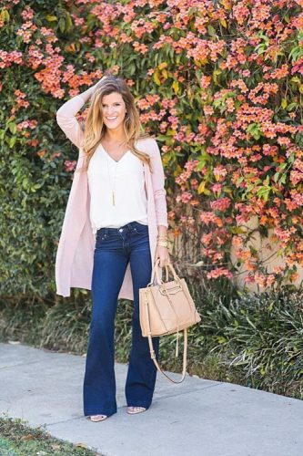 blush long cardigan casual outfit