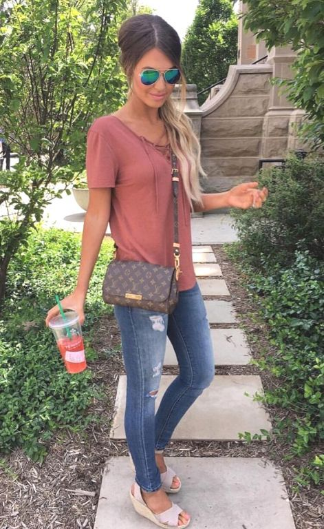 blush tee and jeans