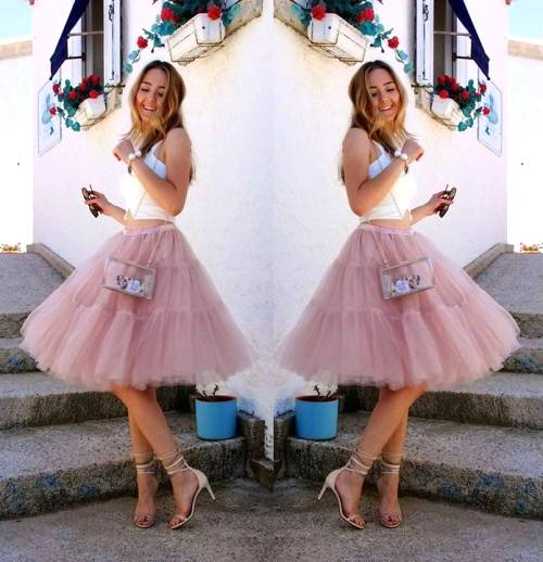 blush tulle midi skirt outfit