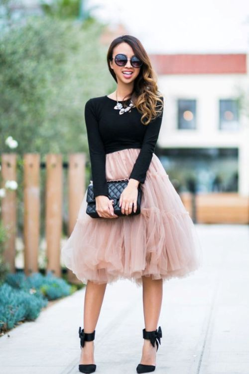 blush tulle midi skirt