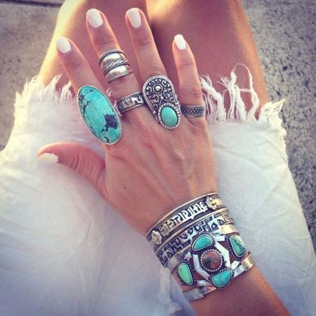 boho rings with stones