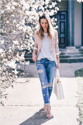 boyfriend jeans with pink blazer