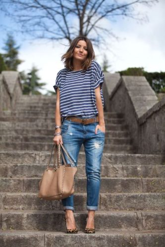 boyfriend jeans with striped tee