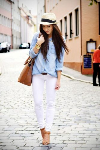 chambray shirt and white skinny