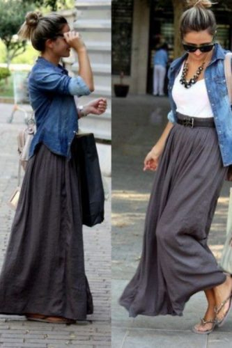 chambray shirt skirt outfit