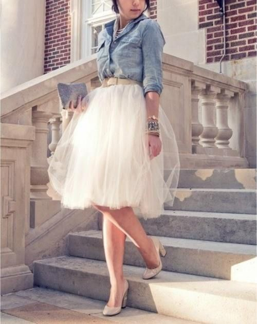 chambrey and tulle midi skirt