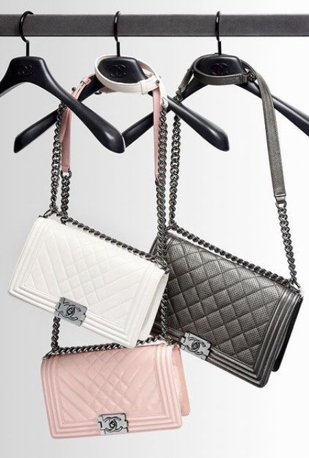 chanel pink, white and black bags