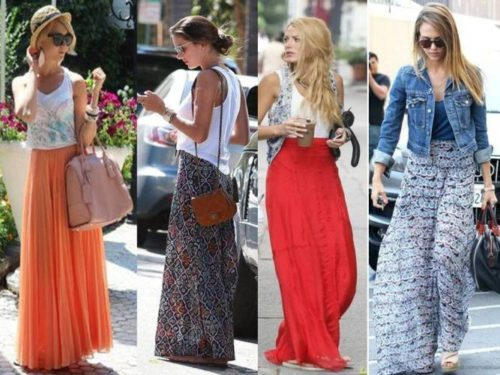 chiffon maxi skirts casual looks