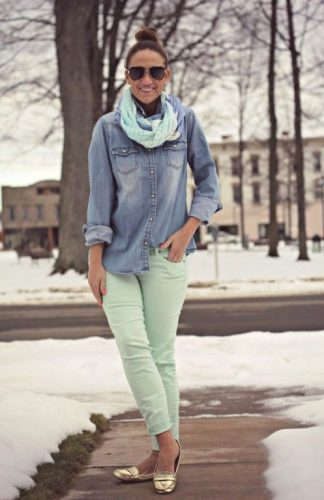 denim shirt with pastel green pants