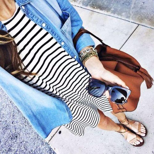 denim shirt with striped dress,