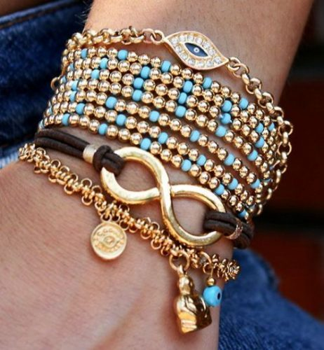 evil eye golden beads