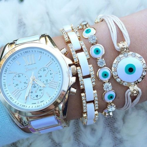 evil eye jewelry and watch