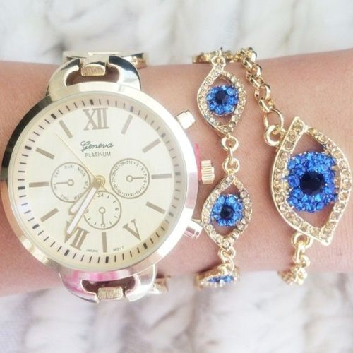 evil eye jewelry with watch