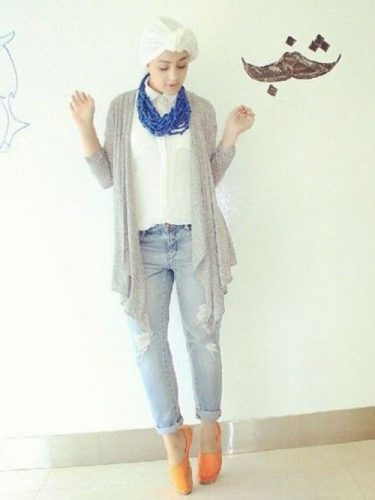 gray long cardigan waterfall style