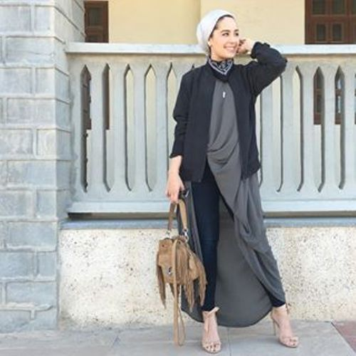 gray with black hijab look