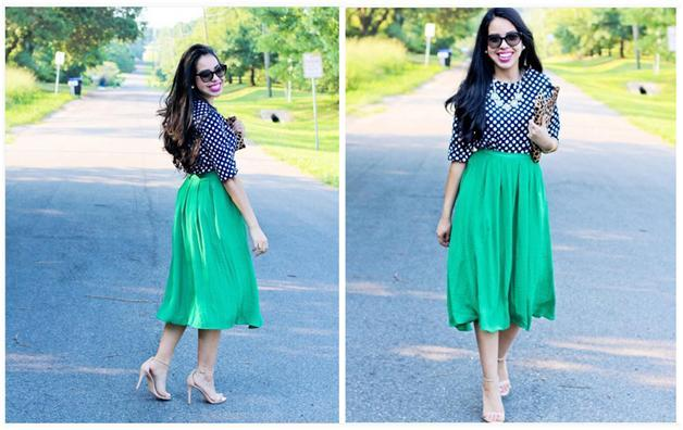 green pleated midi skirt outfit